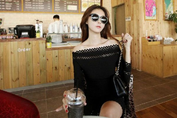 Off Shoulder Long Sleeve Black Fitted Dress
