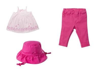 Nina leggings, Grace stripey dress, Lexie plain sunhat